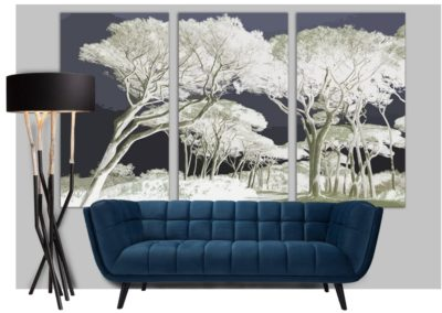 triptyque pin maritime canapé contemporain bleu nuit lampadaire bleu nature
