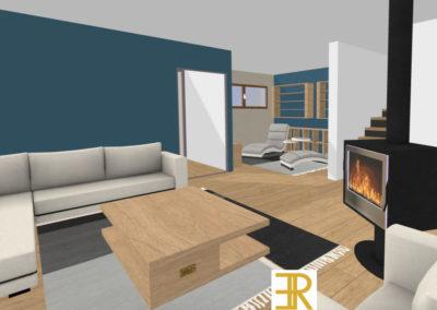 projet 3D chalet perspective salon bibliothèque