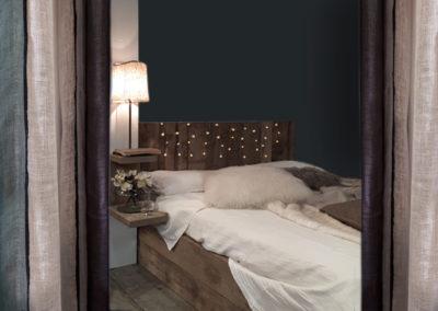 rideaux lin harmony textile lit bois ambiance chalet