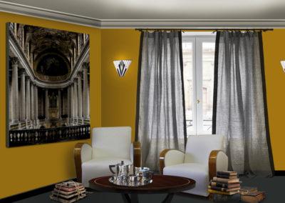 projet décoration interieur art déco panoramique salon hotel lounge toile