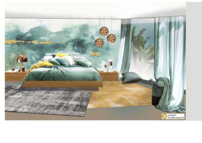 decor ambiance panoramique aquarelle papier-peint projet luminaire tom dixon