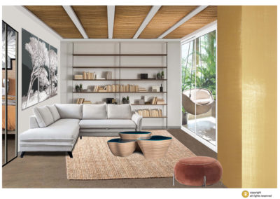 décor virtuel salon bibliothèque naturel matière panoramique canapé