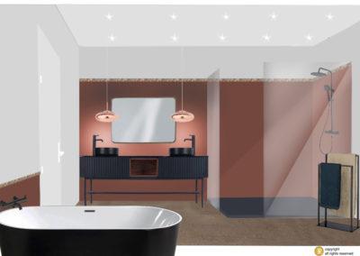 salle de bain deco projet 3D ambiance couleur sienne tadelakt